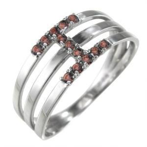 指輪 ガーネット プラチナ900 三連|skybell-shop