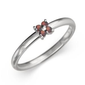 指輪 5ストーン 花 モチーフ ガーネット 1月誕生石 白金(プラチナ)900|skybell-shop
