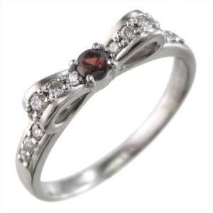 リング リボン ガーネット ダイヤモンド 1月の誕生石 プラチナ900|skybell-shop
