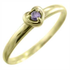 18金イエローゴールド リング 1粒石 アメジスト(紫水晶) 2月の誕生石 ハート skybell-shop