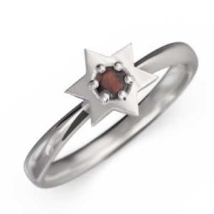 指輪 Pt900 ダビデ 星 1粒 石 ガーネット 1月誕生石|skybell-shop