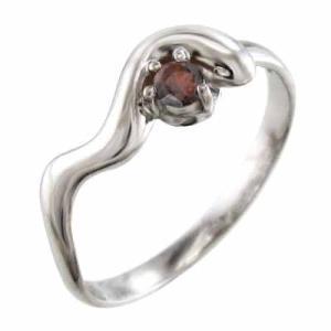 k18ホワイトゴールド 蛇 スネーク 指輪 一粒 ガーネット skybell-shop
