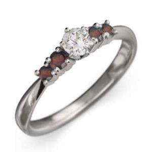 指輪 Pt900 ガーネット 天然ダイヤモンド 1月誕生石|skybell-shop