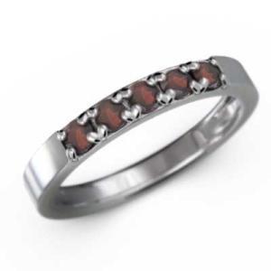 ガーネット 指輪 5石 1月の誕生石 プラチナ900|skybell-shop