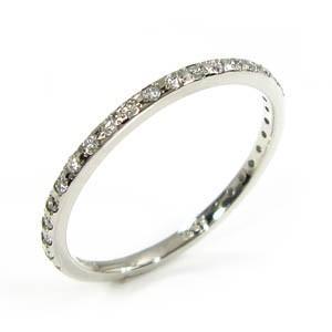 天然ダイヤモンド ハーフ エタニティ 指輪 k18ホワイトゴールド 4月誕生石|skybell-shop