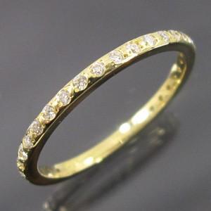ハーフ エタニティリング ダイヤモンド 18kイエローゴールド 4月誕生石|skybell-shop