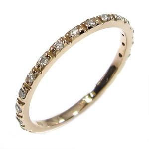 10金ピンクゴールド ハーフ 一文字 リング 天然ダイヤモンド 4月誕生石|skybell-shop