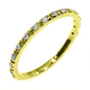 ハーフ エタニティ 指輪 天然ダイヤ k18イエローゴールド|skybell-shop