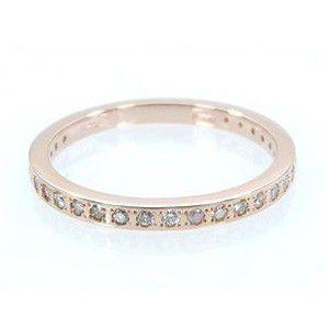 k10ピンクゴールド ハーフ 一文字 リング 4月誕生石 ダイヤモンド|skybell-shop