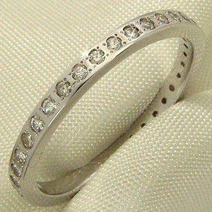 ハーフ エタニティ 指輪 ダイヤモンド 4月誕生石 18金ホワイトゴールド|skybell-shop
