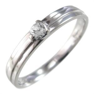 指輪 10金ホワイトゴールド 一粒 ダイヤモンド 4月誕生石|skybell-shop