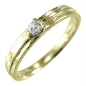 リング 1粒石 ダイヤモンド 4月誕生石 k10イエローゴールド|skybell-shop