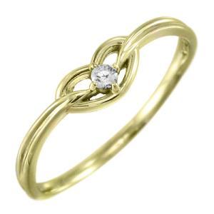 指輪 一粒 ハート ダイヤモンド 4月誕生石 18金イエローゴールド skybell-shop