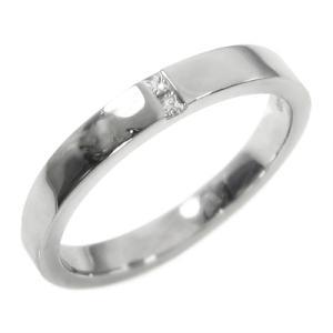 k10ホワイトゴールド 平打ちの 指輪 一粒 4月誕生石 天然ダイヤ skybell-shop