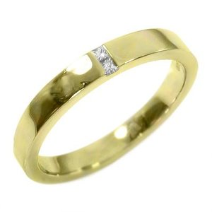 平たい リング 1粒 石 天然ダイヤモンド 4月誕生石 K10 skybell-shop
