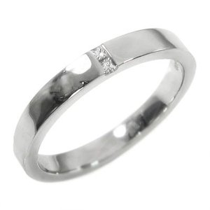 平打ち リング 1粒石 ダイヤモンド 4月誕生石 k18ホワイトゴールド skybell-shop