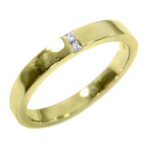 平打ち リング 一粒 ダイヤモンド 4月誕生石 18金イエローゴールド skybell-shop