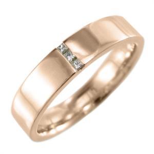 平打ち リング k10ピンクゴールド ダイアモンド 4月誕生石 プリンセスカットダイヤ skybell-shop