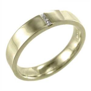 平たい リング K10 天然ダイヤモンド 4月誕生石 プリンセスカットダイヤ skybell-shop
