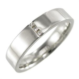 平たい リング ダイアモンド 4月誕生石 18金ホワイトゴールド プリンセスカットダイヤ skybell-shop