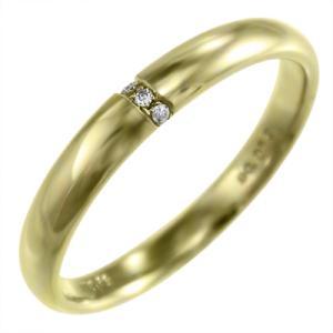 甲丸 指輪 天然ダイヤモンド 4月誕生石 18金イエローゴールド 約3mm幅 skybell-shop