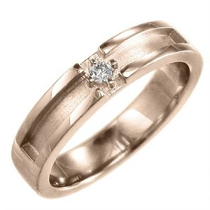 リング 平打ち リング ピンクゴールドk10 クロス 1粒石 ダイアモンド 4月誕生石 約4mm幅|skybell-shop