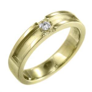 ピンキー 小指 リング 平打ち リング 一粒 デザイン クロス ダイヤモンド 4月誕生石 K18 約4mm幅|skybell-shop