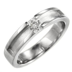 天然ダイヤモンド リング 平打ち リング クロス 1粒石 4月誕生石 Pt900 約4mm幅|skybell-shop