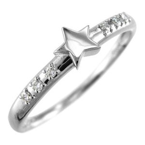 リング スター ジュエリー ダイアモンド 4月誕生石 k10ホワイトゴールド|skybell-shop