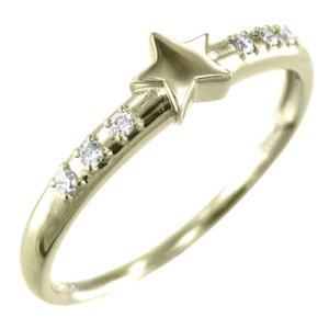 小指 指輪 星型 ダイアモンド 4月誕生石 K10|skybell-shop