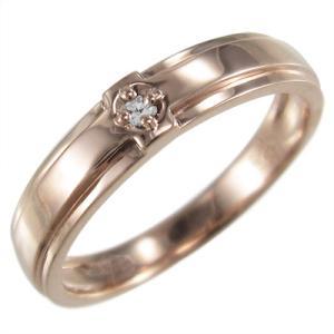 ピンキー 小指 リング 婚約 ブライダル にも k10ピンクゴールド クロス デザイン 一粒 天然ダイヤ 4月誕生石|skybell-shop