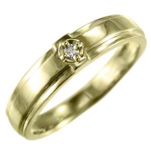 10金イエローゴールド リング ブライダル リング クロス 1粒石 4月誕生石 天然ダイヤ|skybell-shop