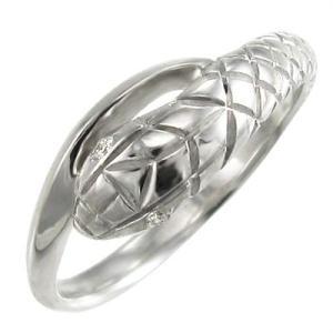 指輪 蛇 スネーク ダイヤモンド k10ホワイトゴールド|skybell-shop