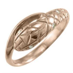 指輪 ダイヤモンド 蛇 スネーク 18金ピンクゴールド 4月誕生石|skybell-shop