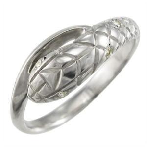 リング スネーク ダイヤモンド 4月誕生石 18金ホワイトゴールド|skybell-shop