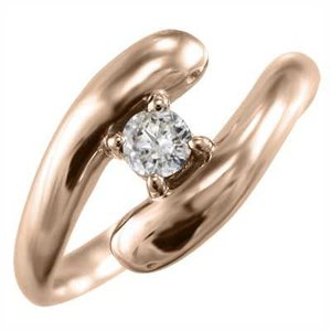 リング 1粒石 スネーク ダイアモンド 4月誕生石 k18ピンクゴールド|skybell-shop