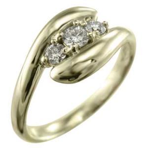 K10 スネーク リング スリーストーン ダイヤモンド|skybell-shop