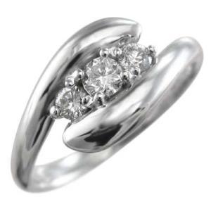 18金ホワイトゴールド リング スネーク スリー ストーン 4月誕生石 天然ダイヤ|skybell-shop