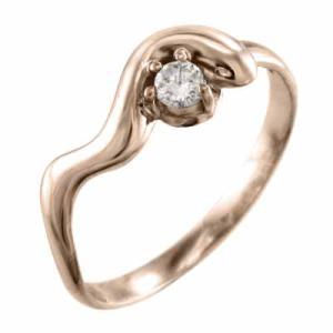 リング 一粒石 スネーク ダイアモンド 4月誕生石 ピンクゴールドk10|skybell-shop