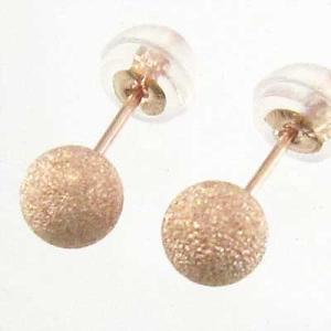ペアピアス シンプル k18ピンクゴールド 5mm珠 フラッシュボール キャッチ付 丸玉|skybell
