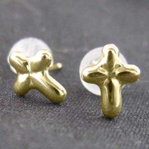 k18イエローゴールド 両耳 ピアス スタンダード クロス十字架 キャッチ付き|skybell