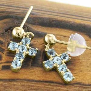 両耳 ピアス ミニ クロス十字架 ブルートパーズ 11月の誕生石 k18 キャッチ付き skybell