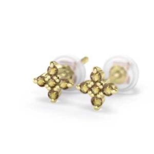 シトリン(黄水晶) 両耳 ピアス 十字架 k18イエローゴールド 11月誕生石 キャッチ付き|skybell