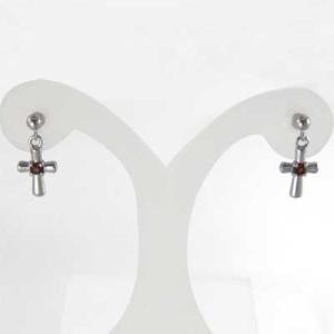 両耳 ピアス 一粒石 クロス ダイアモンド 4月誕生石 k18ホワイトゴールド キャッチ付き|skybell|03