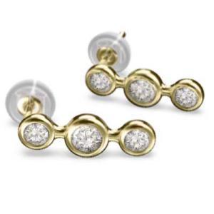 ペアピアス スリーストーン 天然ダイヤモンド 4月誕生石 18金イエローゴールド キャッチ付き|skybell