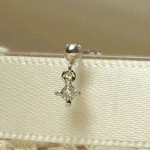 片耳 ピアス 1粒 石 ダイアモンド ホワイトゴールドk18 4月誕生石 キャッチ付き skybell