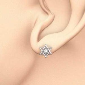 両耳 ピアス 六芒星 一粒石 天然ダイヤ 18kホワイトゴールド 4月誕生石 キャッチ付き|skybell|02