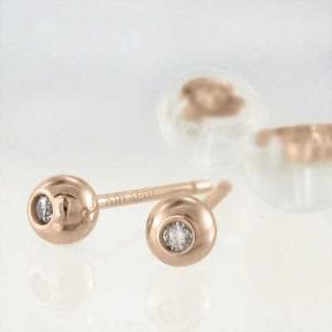 両耳 ピアス 一粒石 ダイヤモンド k18ピンクゴールド キャッチ付き 丸玉ピアス バルーンピアス 3mmサイズ|skybell