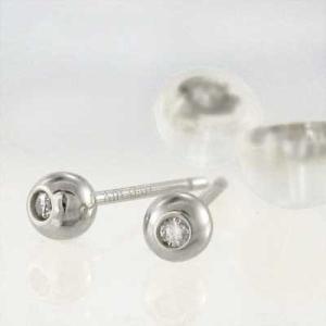 両耳 ピアス 一粒石 ダイヤモンド 18kホワイトゴールド キャッチ付き 丸玉ピアス バルーンピアス 3mmサイズ|skybell