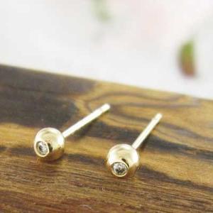 ダイアモンド ペア ピアス 1粒 石 k18イエローゴールド キャッチ付き 丸玉ピアス バルーンピアス 3mmサイズ|skybell